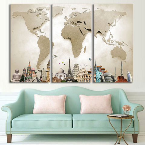 LIMITED EDITION - 3 PIECE WONDERS OF THE WORLD MAP