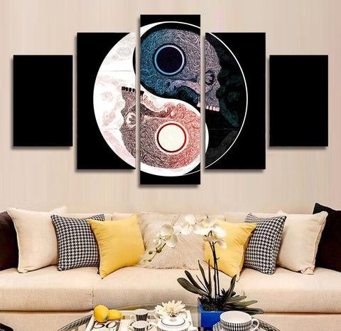 LIMITED EDITION - 5 PIECE YIN & YANG SKULL CANVAS