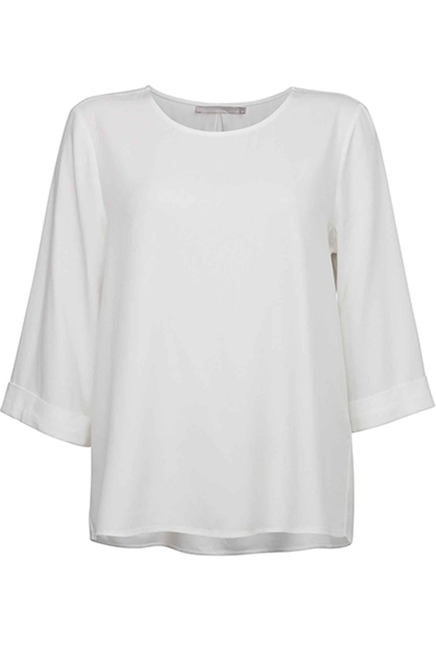 Round Neck Kimono Top in Pure White