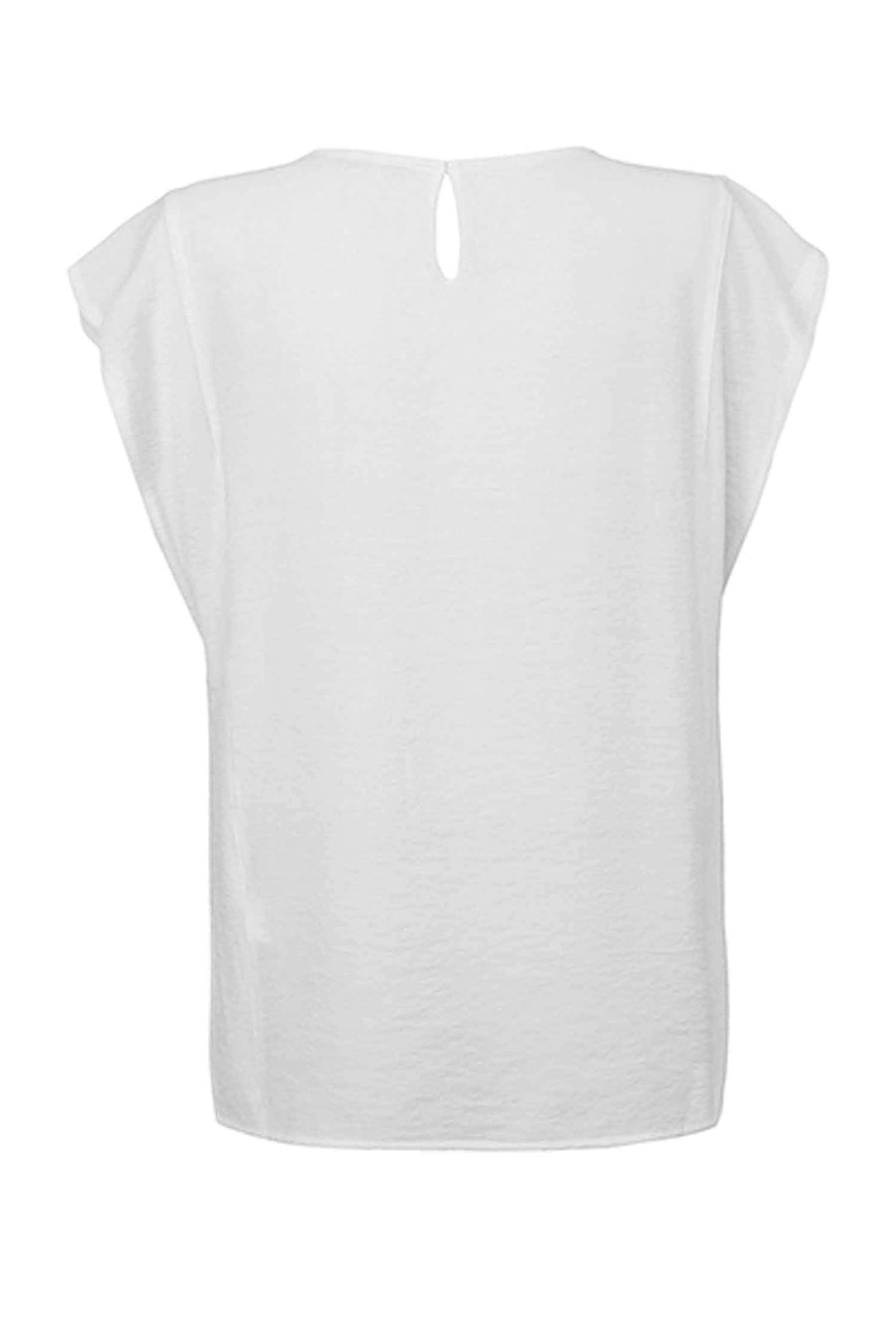 Top Woven V-Neck in Pure White