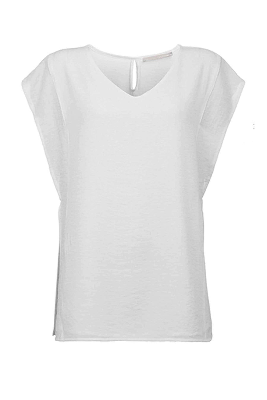 Shop Online Top Woven V-Neck in Pure White by Yaya | Frockaholics.com Tops