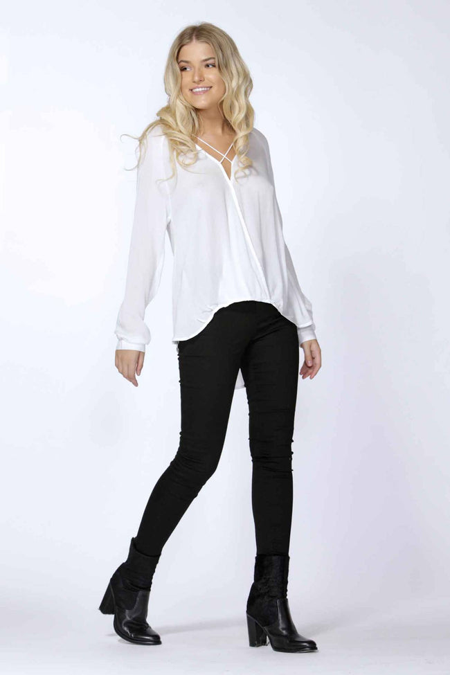 Marisa Cross Over Blouse in Pearl by SASS Frockaholics.com
