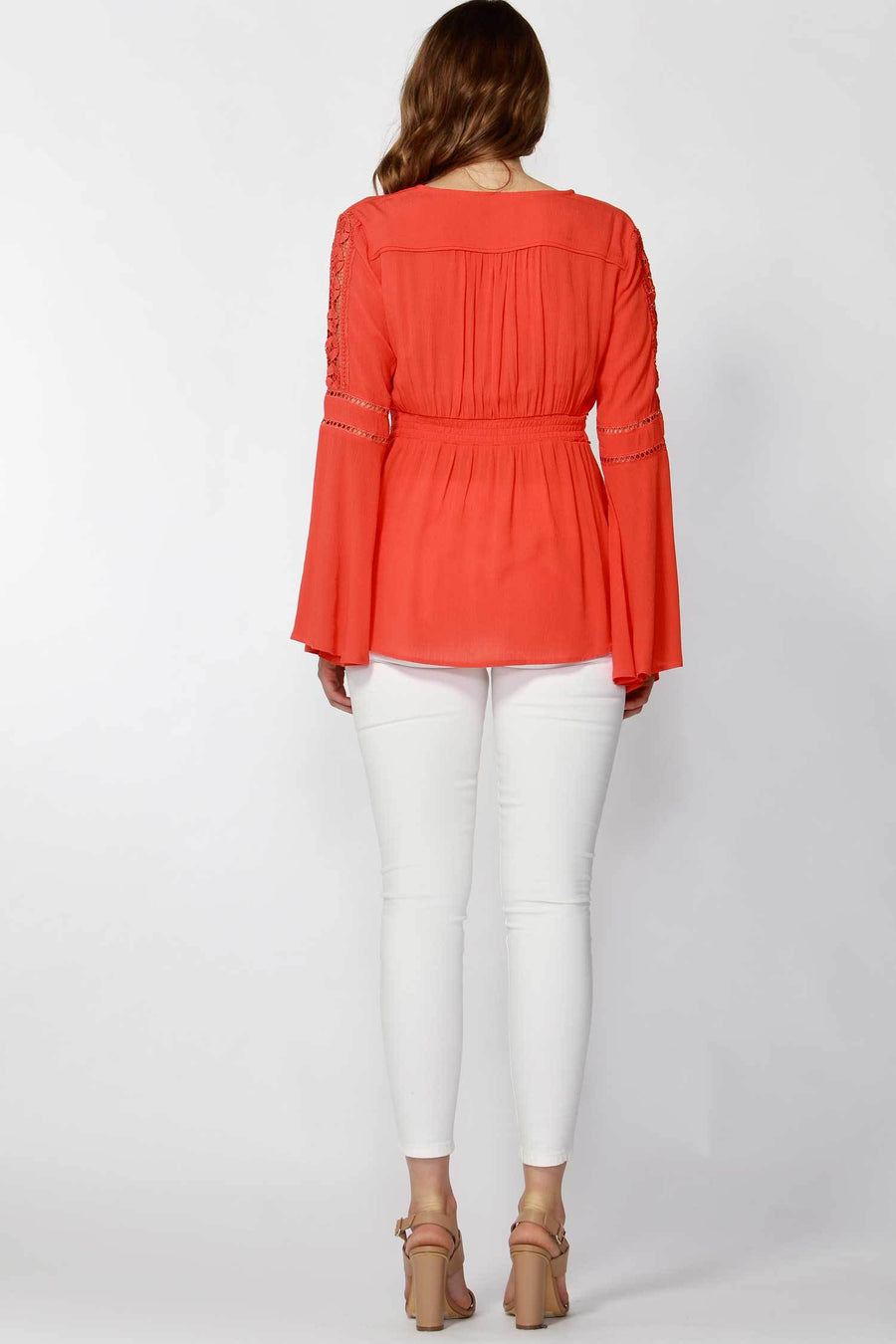 Dominique Lace Trim Blouse in Poppy