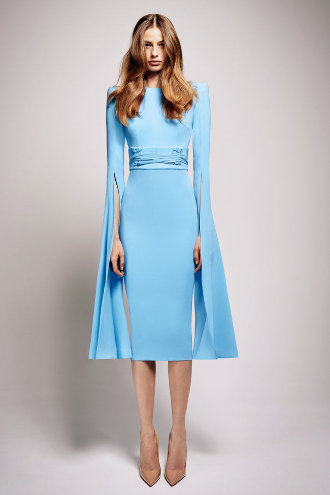 Chloe Satin Crepe Long Sleeve Dress With Corset