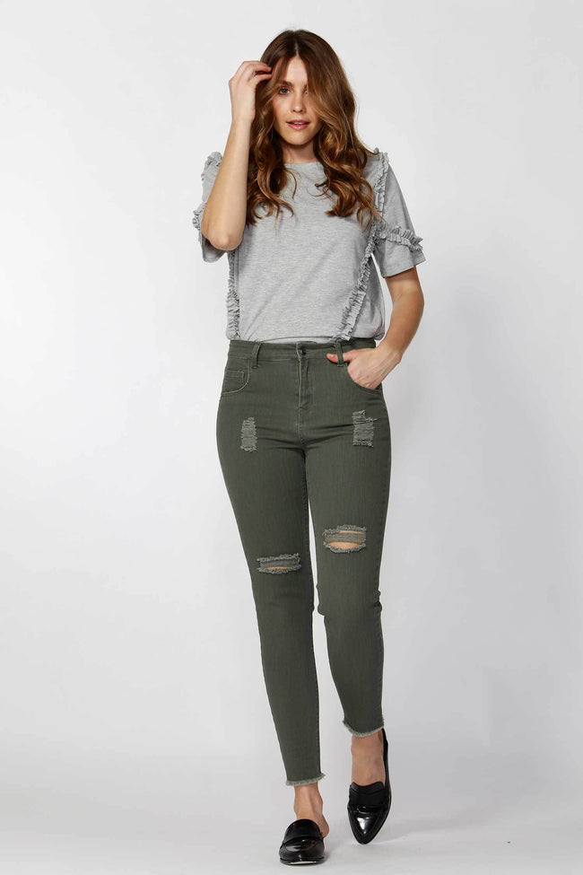 Angus Ripped Jeans in Sage