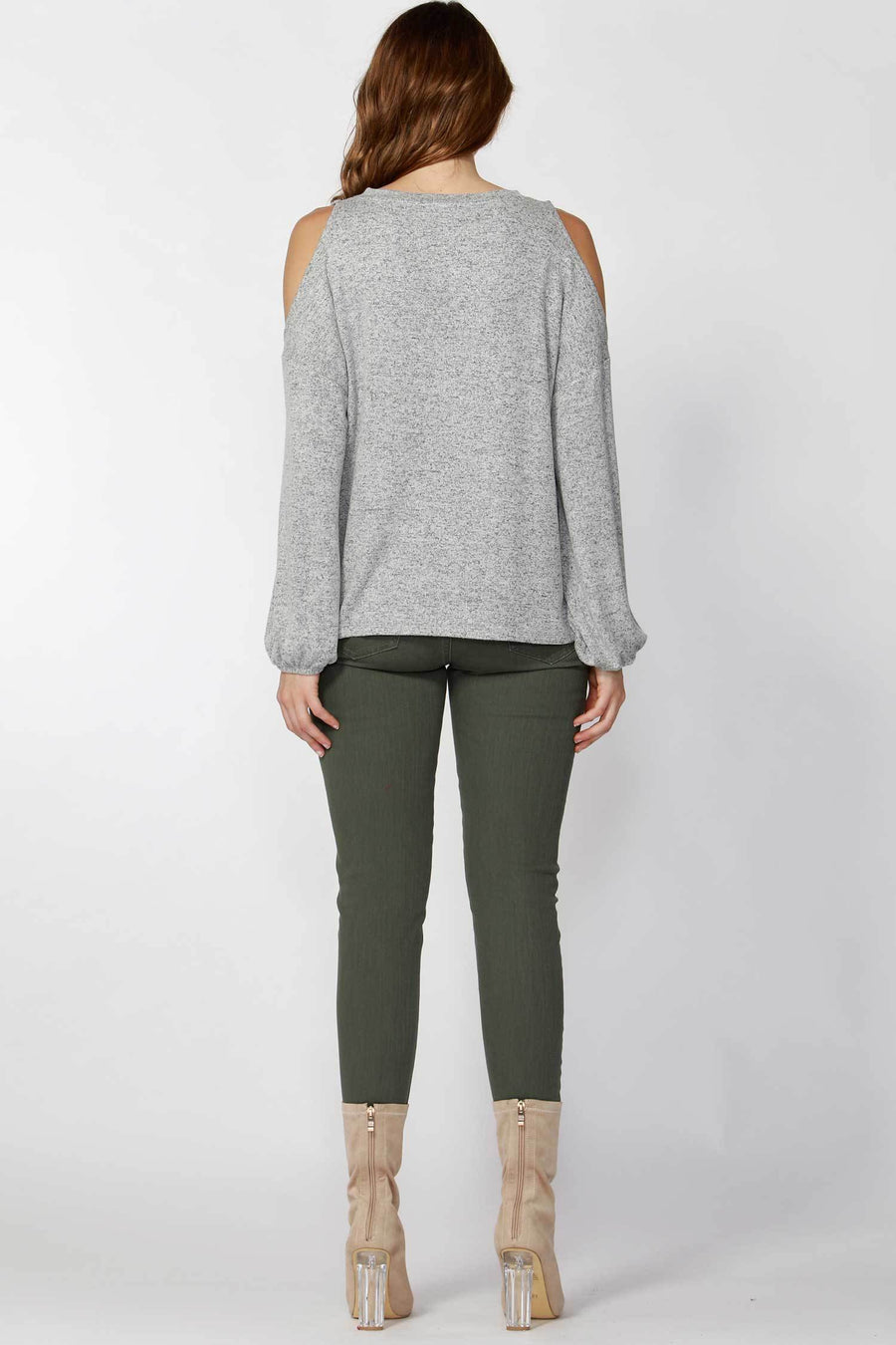 Stela Bubble Sleeve Top in Grey Marle