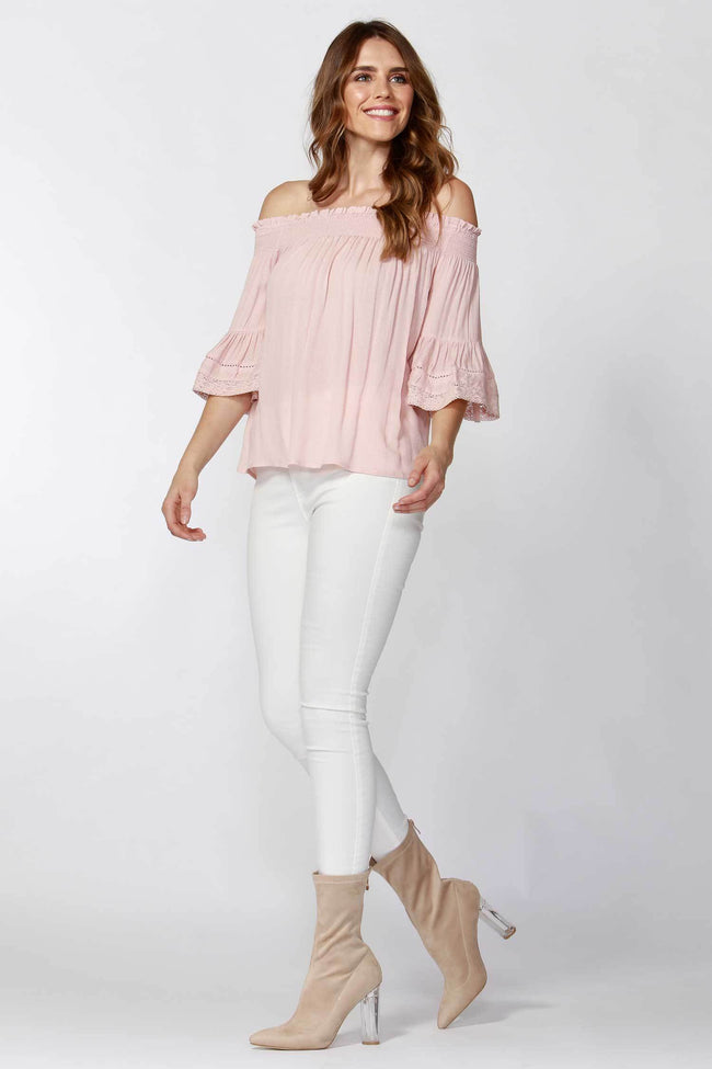 Shop Online Avis Dobby Lace Trim Blouse in Petal by Sass  Frockaholics Tops