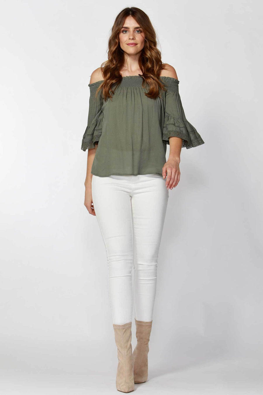 Avis Dobby Lace Trim Blouse in Sage