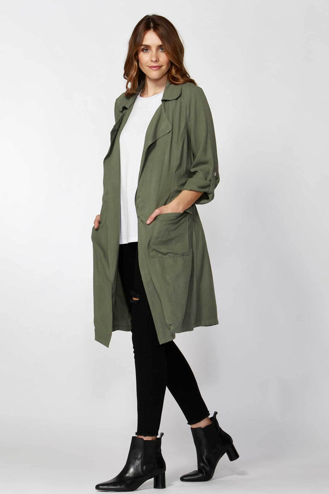 Hailie Longline Trench Jacket in Sage