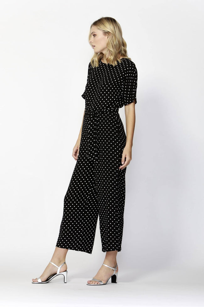 Paris Nights Jumpsuit in Black/White Dots