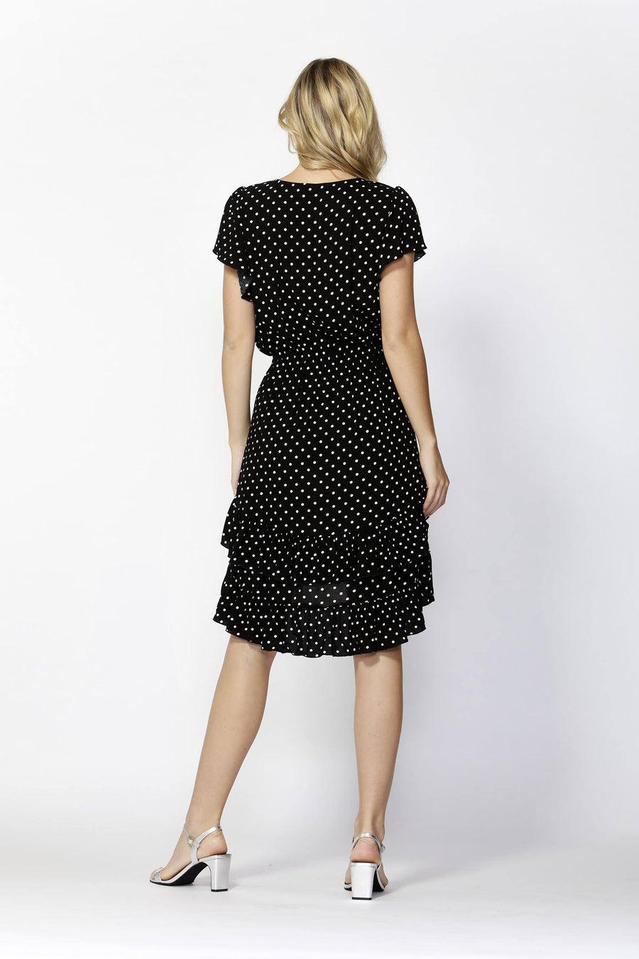 Sunny Day Frilly Dress in Black/White Dots