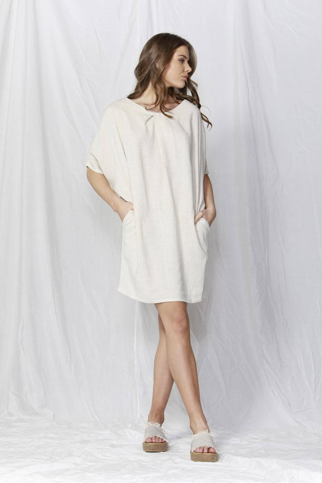 Happy Hour T-shirt Dress in Oat