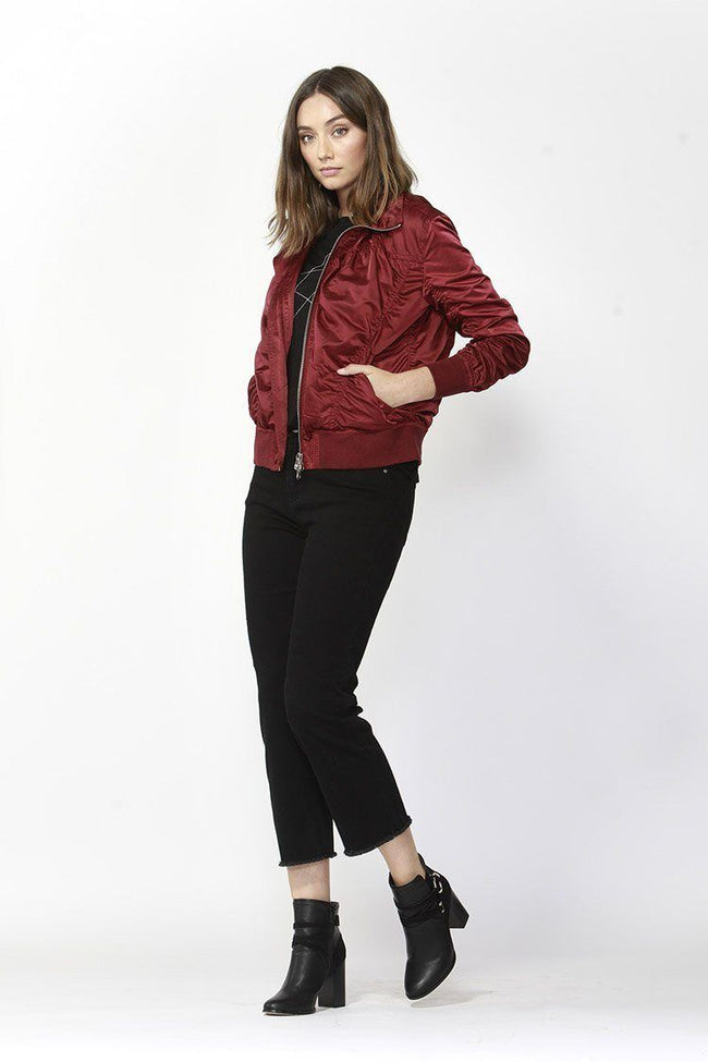 Weekender Bomber Jacket in Deep Merlot