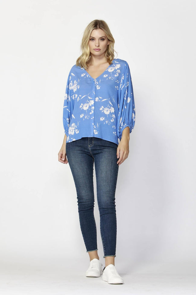 Dream Big Blouse in Blue Print