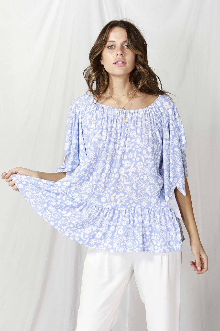 La Spezia Ruffled Blouse in Botanical Lavender