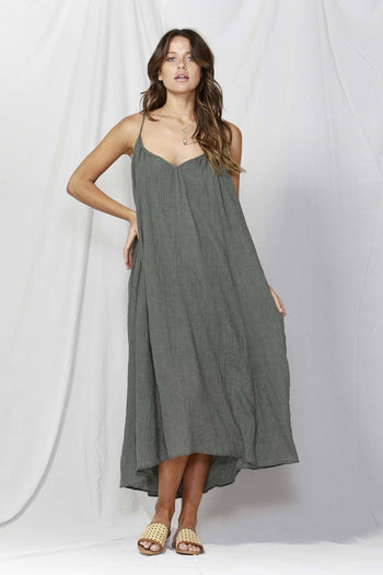 Sunday Strap Maxi Dress in Washed Khaki
