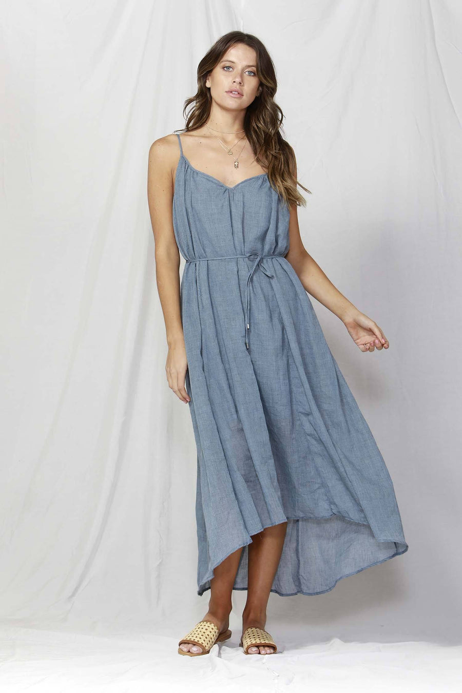 Sunday Strap Maxi Dress in Washed Navy
