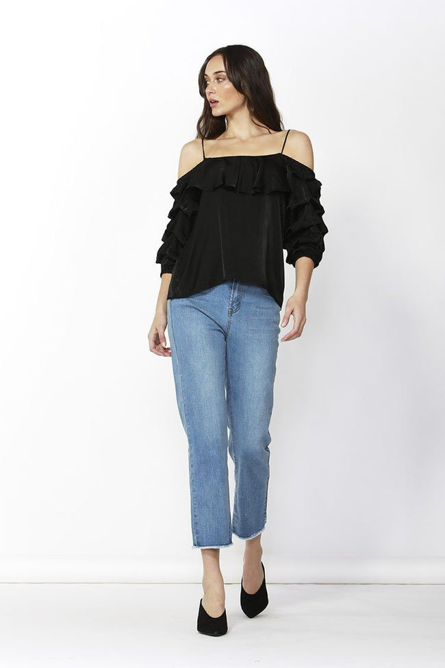 Dare Cold Shoulder Top in Black