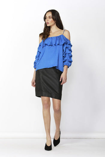 Dare Cold Shoulder Top in Blue