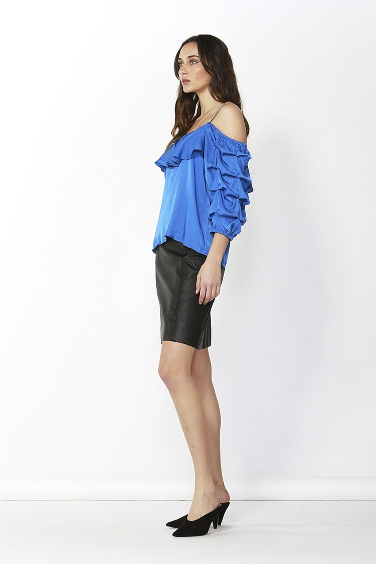Dare Cold Shoulder Top in Blue | FINAL SALE