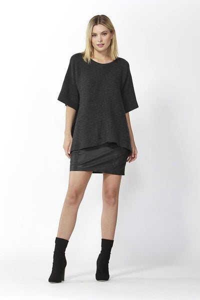 Aveen Cropped Knit in Charcoal Tops Fate + Becker