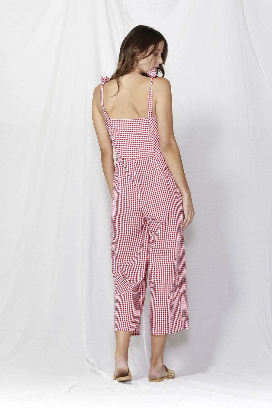 Venice Button Detail Jumpsuit in Red Check