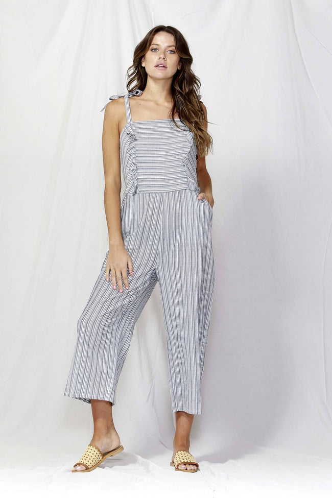 Venice Button Detail Jumpsuit in Navy/White Stripe