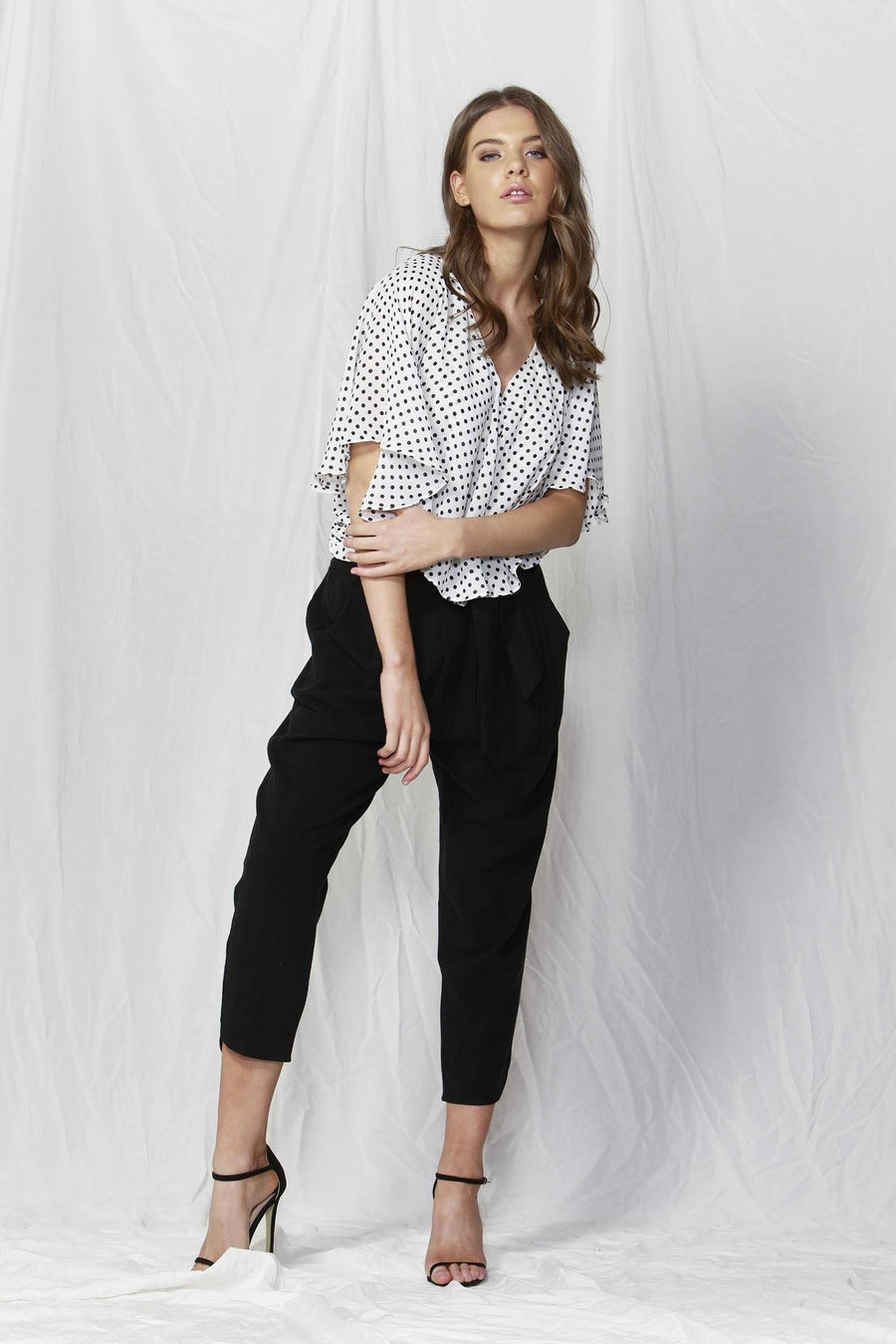 Bronte Top in Pearl/Black Dots