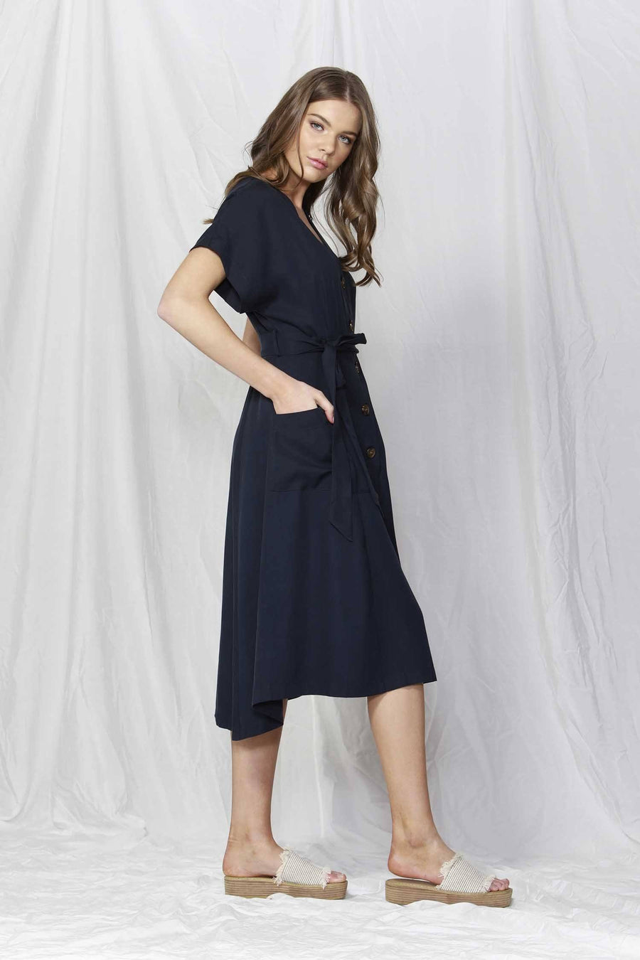 Rush Hour Button-Down Dress in Navy