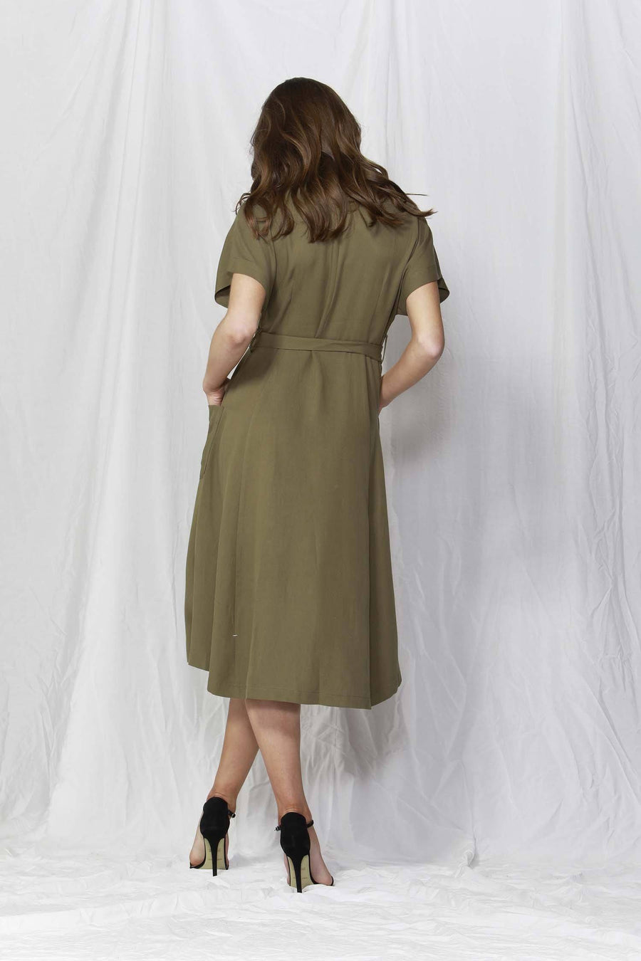 Rush Hour Button-Down Dress in Olive