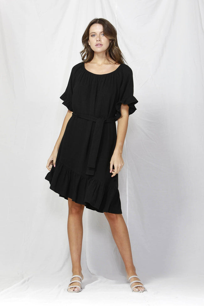 Dakota Ruffle Dress in Black