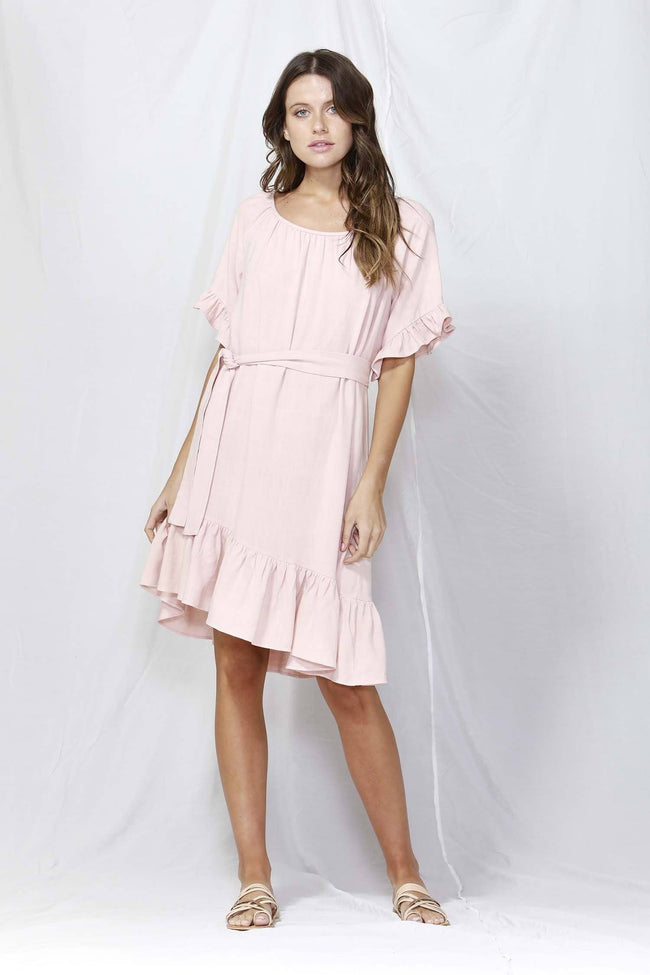 Dakota Ruffle Dress in Pink