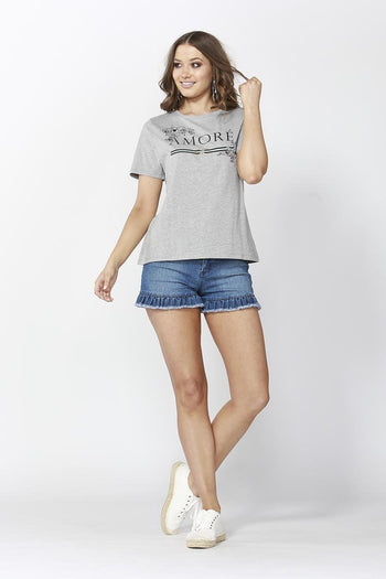 Amore Logo Tee in Grey Marle