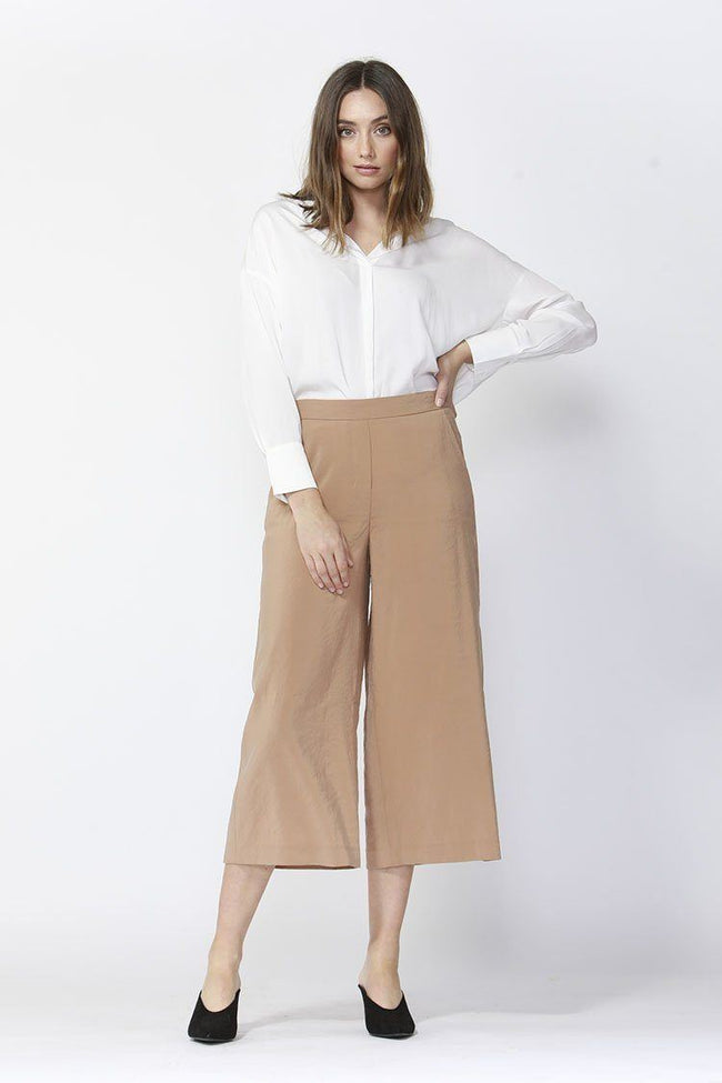 Eclipse Wide Leg Cropped Pants in Caramel