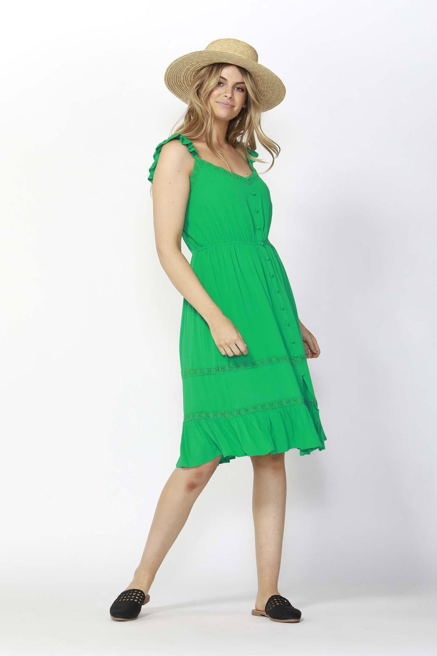 Honeymoon Lace Dress in Plam