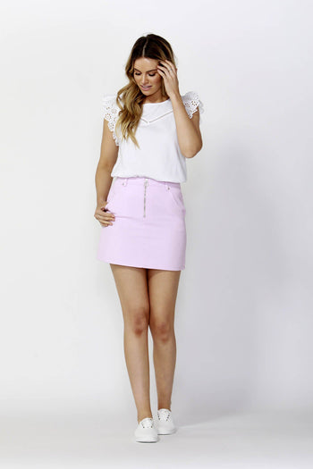 Vacation Zip Up Denim Skirt in Washed Pink