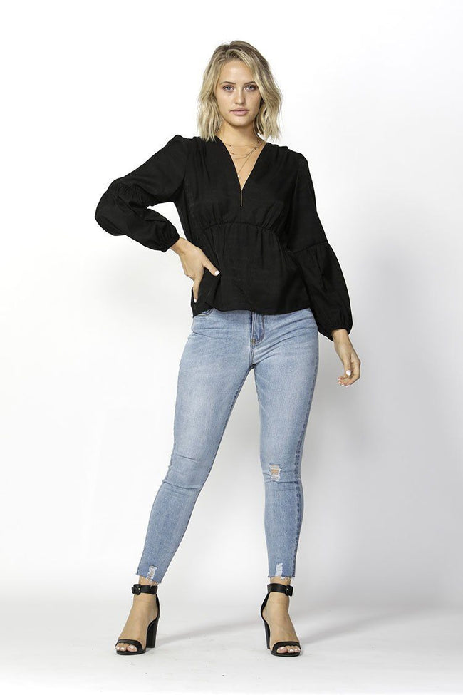 Right On Time Blouse in Black