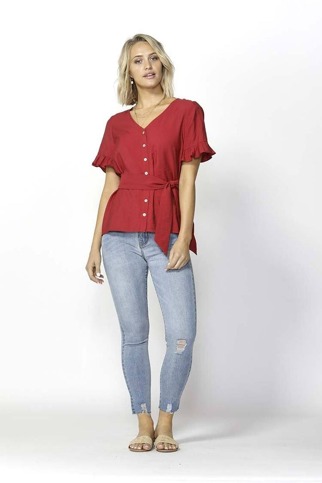 Seven Seas V Neck Top in Ultra Red