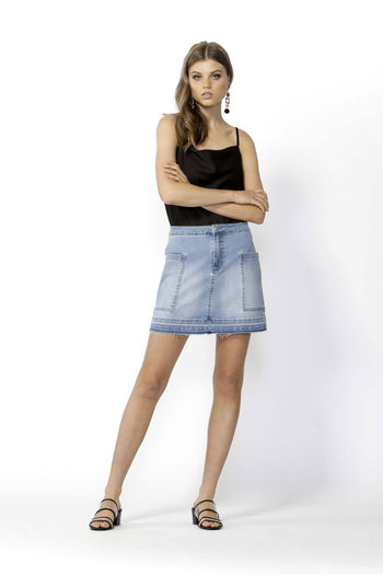 Run Free Denim Mini Skirt in Indigo Wash