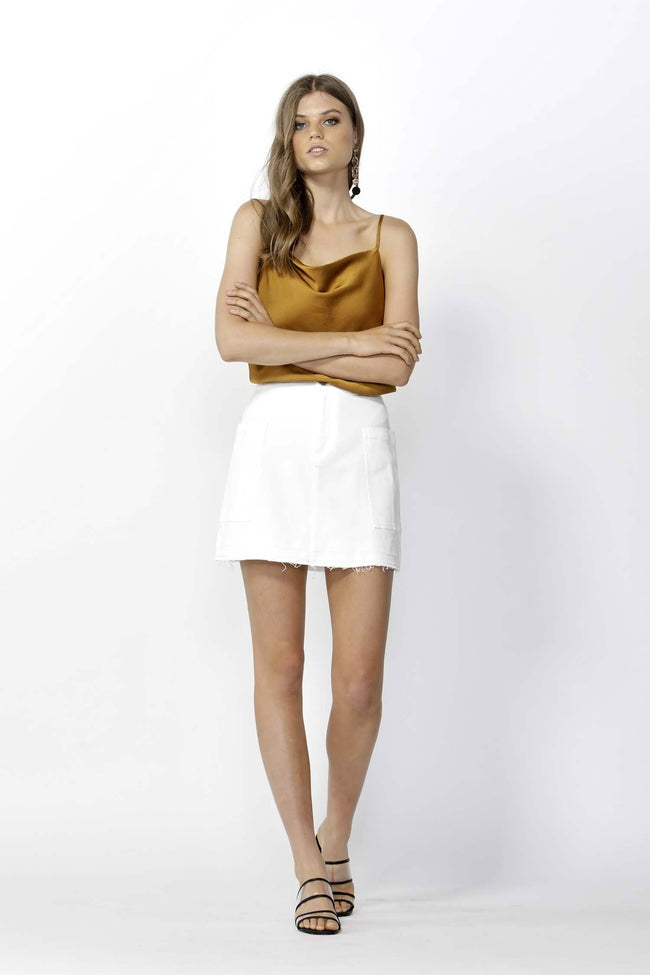 Run Free Denim Mini Skirt in White