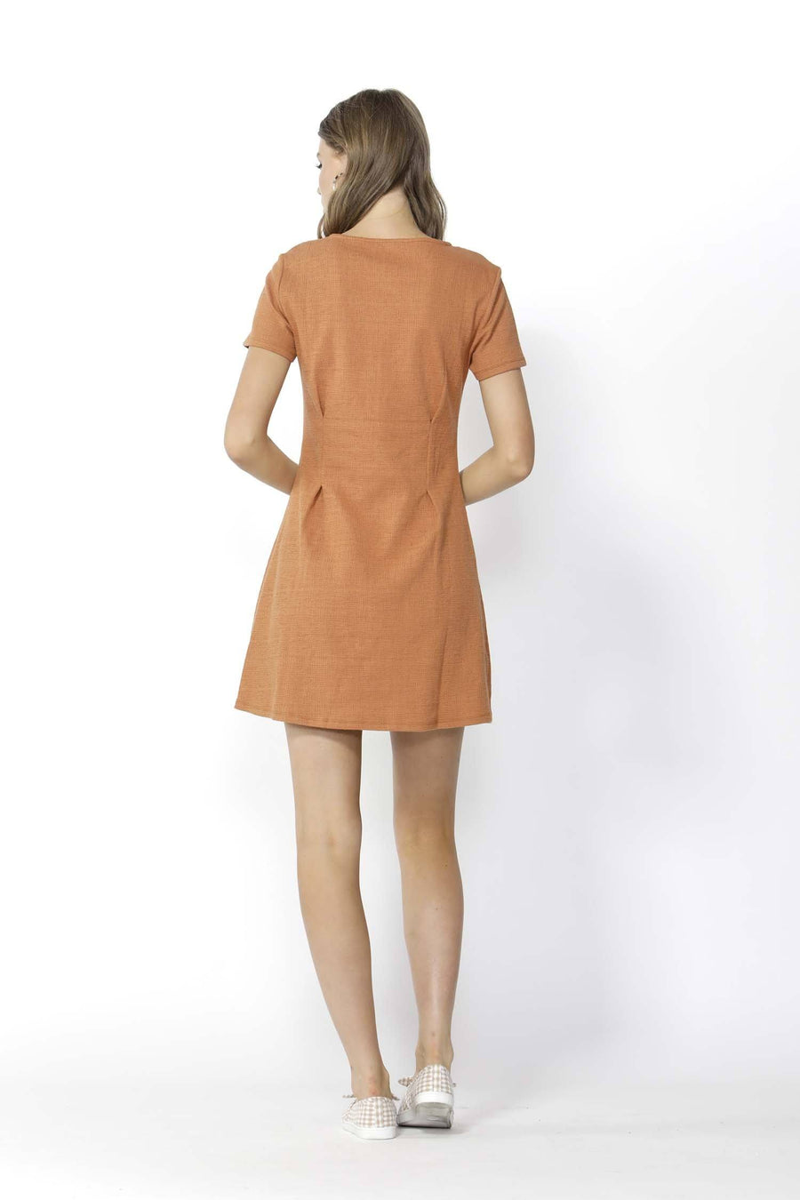 Young at Heart Buttoned Dress in Rust