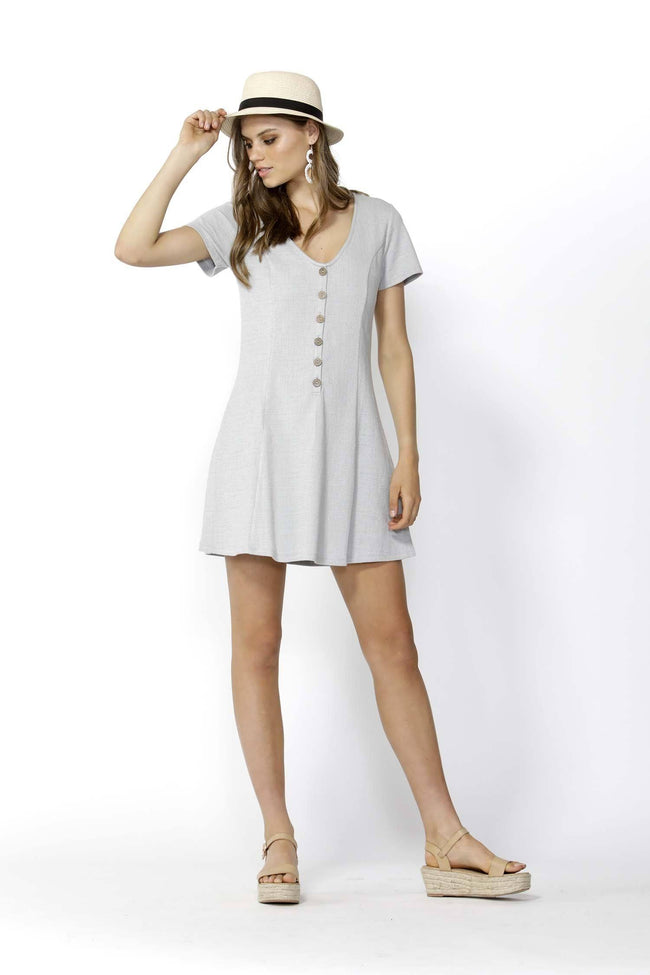 Young at Heart Buttoned Dress in Silver Marle