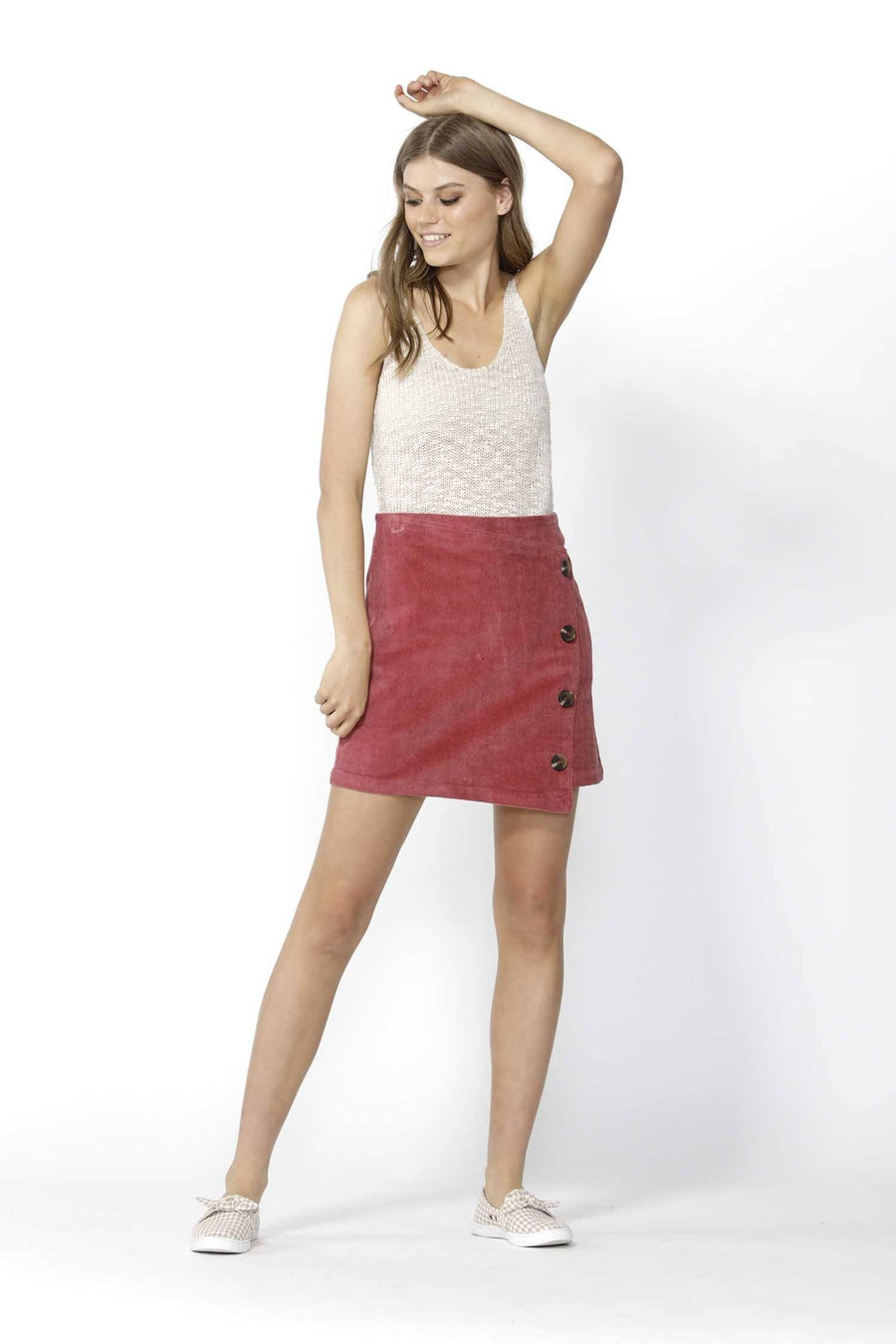 Candid Button Thru Cord Skirt in Berry