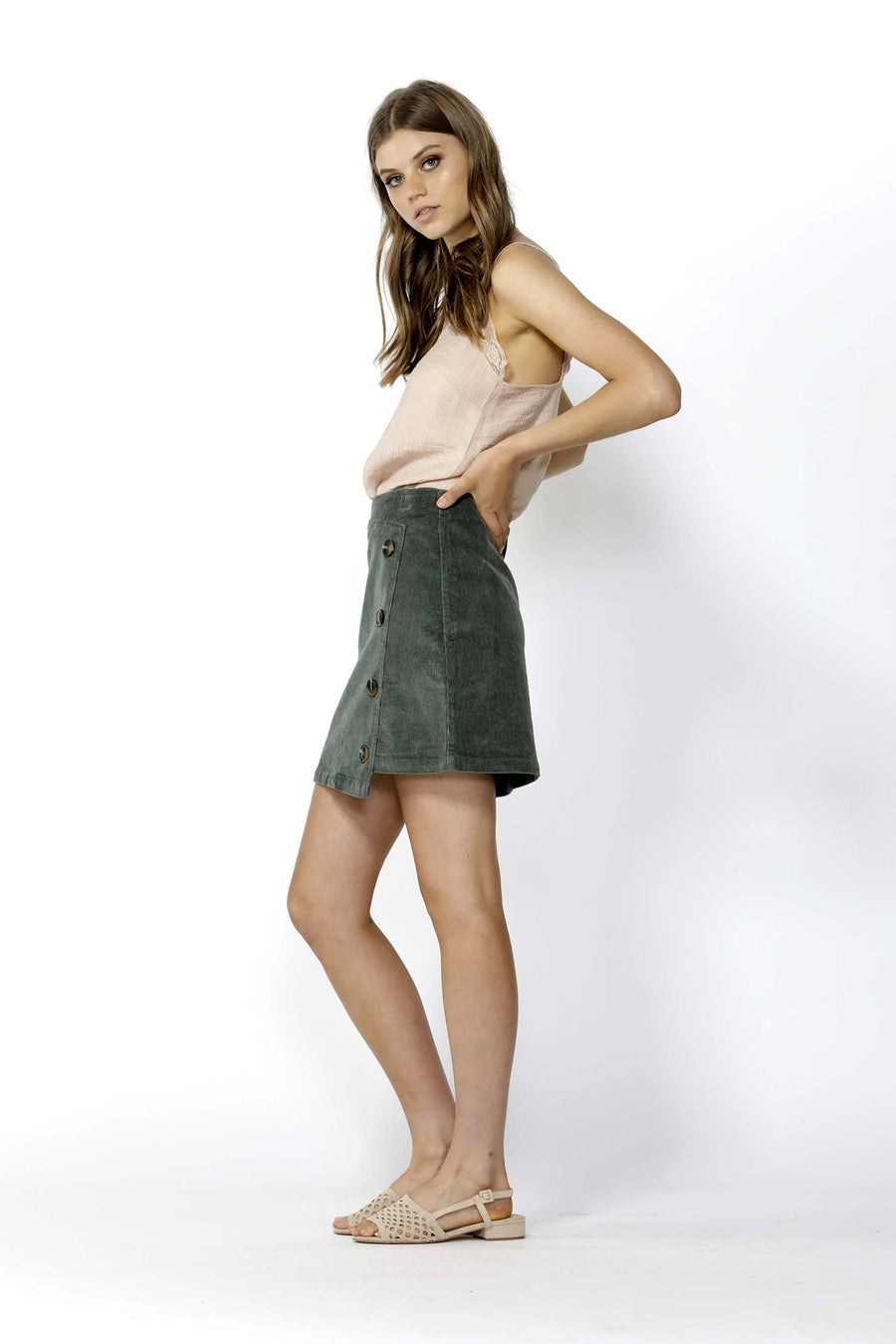 Candid Button Thru Cord Skirt in Rosemary