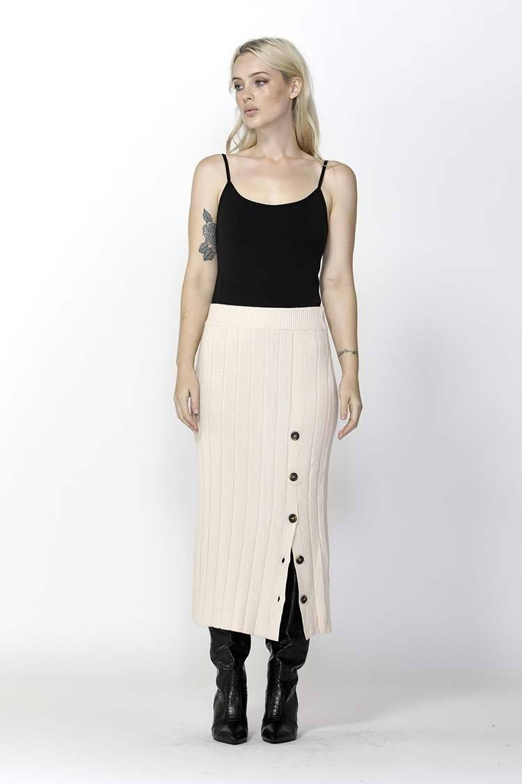 Free Falling Buttoned Skirt in Ivory