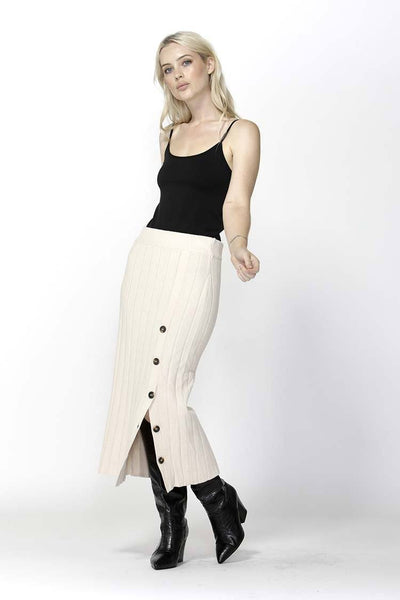 Free Falling Buttoned Skirt in Ivory Bottoms SASS
