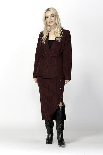 Free Falling Belted Cardigan in Mulberry Jackets & Outerwear SASS
