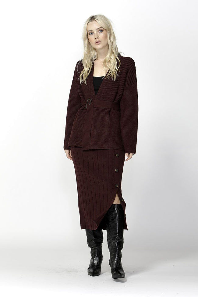 Free Falling Belted Cardigan in Mulberry