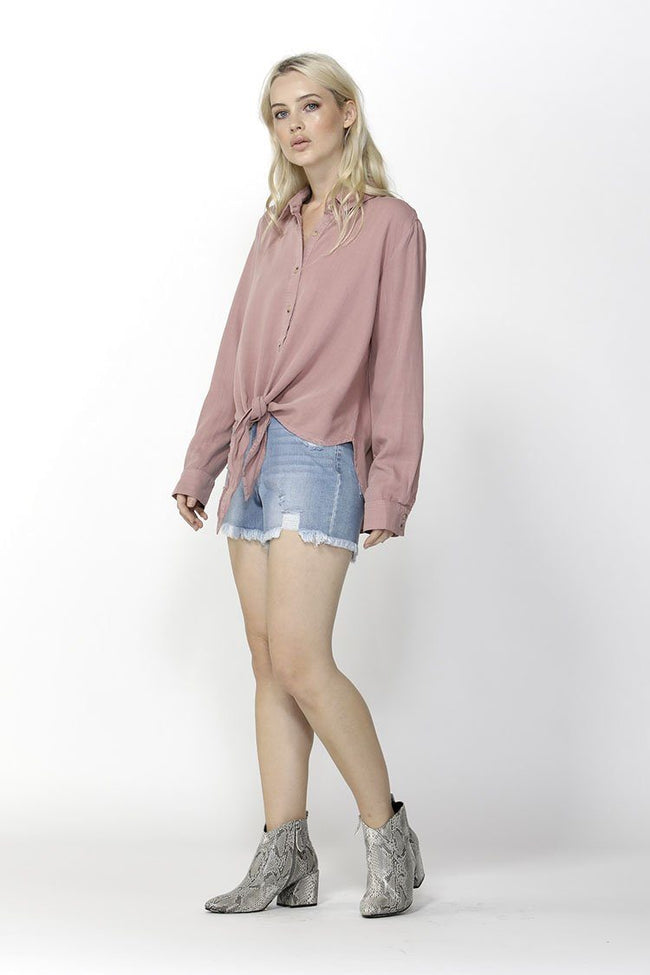 Seeker Knot Front Shirt in Lychee
