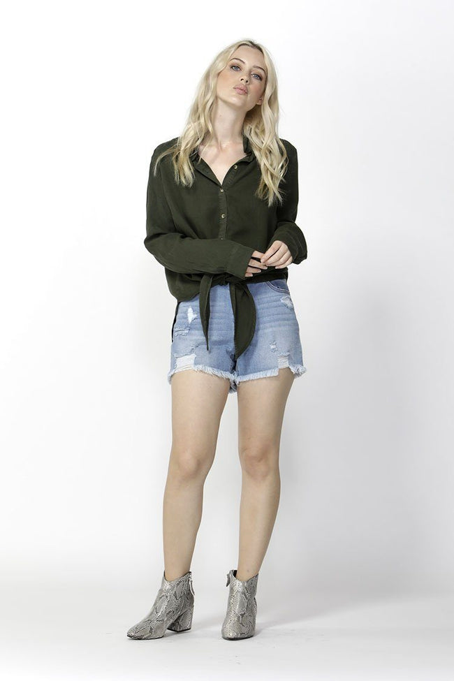 Seeker Knot Front Shirt in Olive